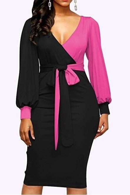 Women Polka Dot Pencil Dress V Neck Off Shoulder Long Sleeve Party Holiday Club