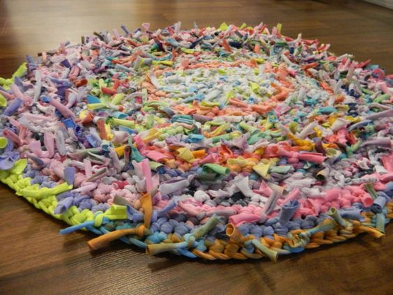 ... Crocheted Rag Rug, Made with Recycled T-Shirt Yarn | Rag Rugs, Pastel