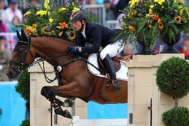 Michael Jung of Germany, riding Sam, negotiates a jump in the Individual Jumping Equestrian Final on Day 4 of the London 2012 Olympic Games at Greenwich Park.