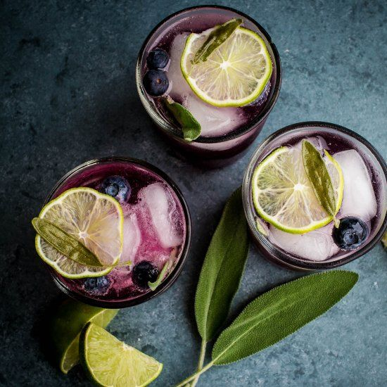 Ginger infused vodka takes these blueberry and sage vodka mojitos to the next level