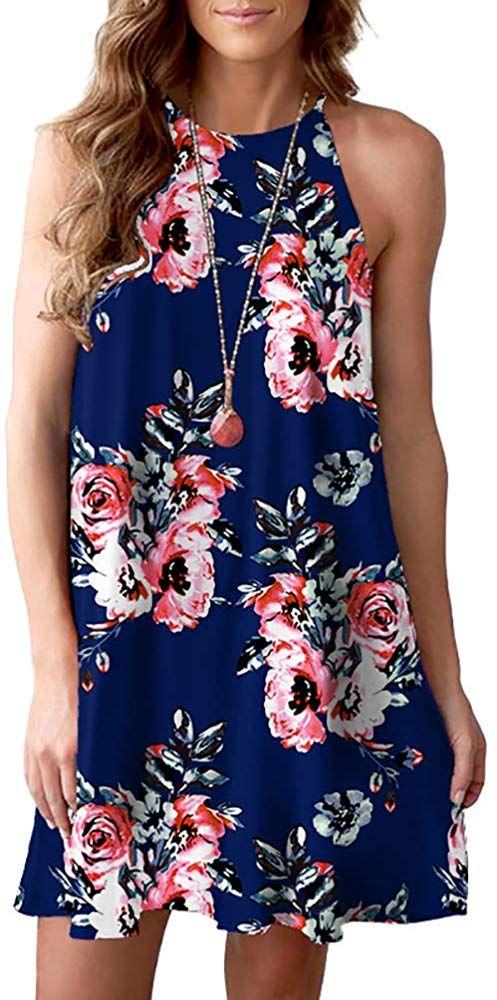 Spring Summer Fashion Women Casual Floral Print Sleeveless Mini Chiffon Dresses
