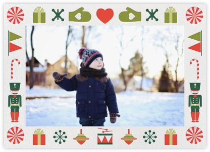 Petit Collage Holiday Card  Toy Border - Horizontal - Paperless Post