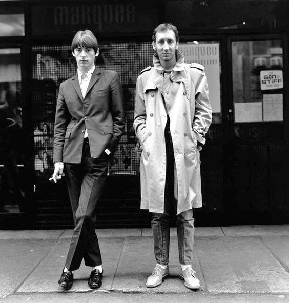 Paul Weller and Pete Townshend, Wardour Street outside the Marquee Club in 1981.