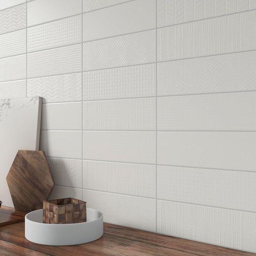Contempo 4 X 12 Matte White Deco Porcelain Wall Tile On Sale 3 79 Sq Ft In 2020 Porcelain Wall Tile Wall Tiles Tile Stores