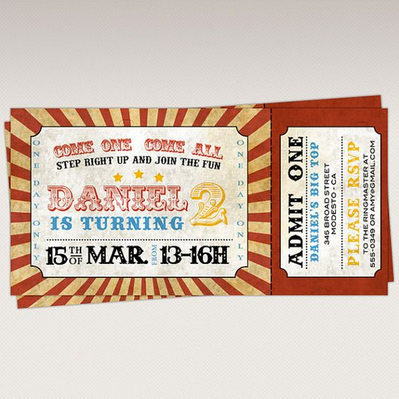 Circus Carnival Birthday Party Ticket Invitation by PNArt on Etsy