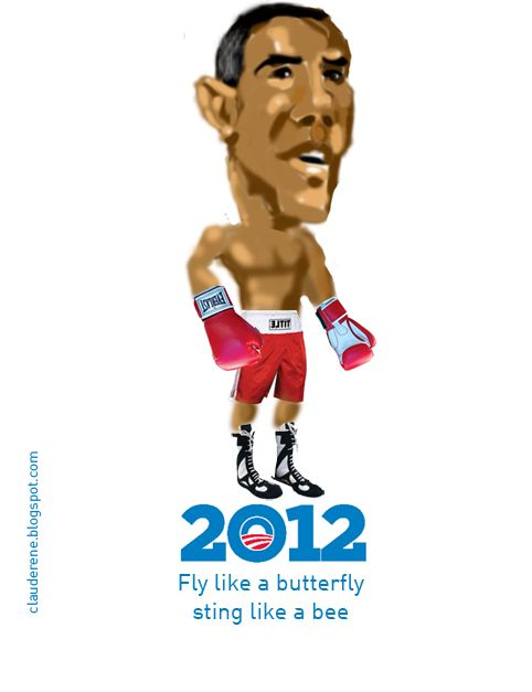 Obama 2012 Boxer Caricature by Claude Bossett Illustration