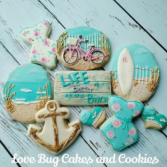 Beach theme decorated sugar cookies Anchor, shore line, one piece bikini shapes Love Bug Cakes and Cookies
