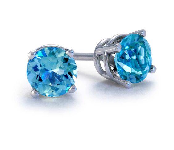Blue Topaz Stud Earrings in 18k White Gold (5mm)   Blue Nile