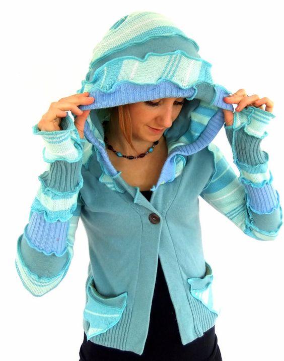 Spezial Angebot  blaue Pixie zucken hOOdie  Stripe von Fairytea
