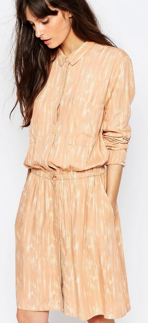 Shirt Dress in Peach and White Streaky Print