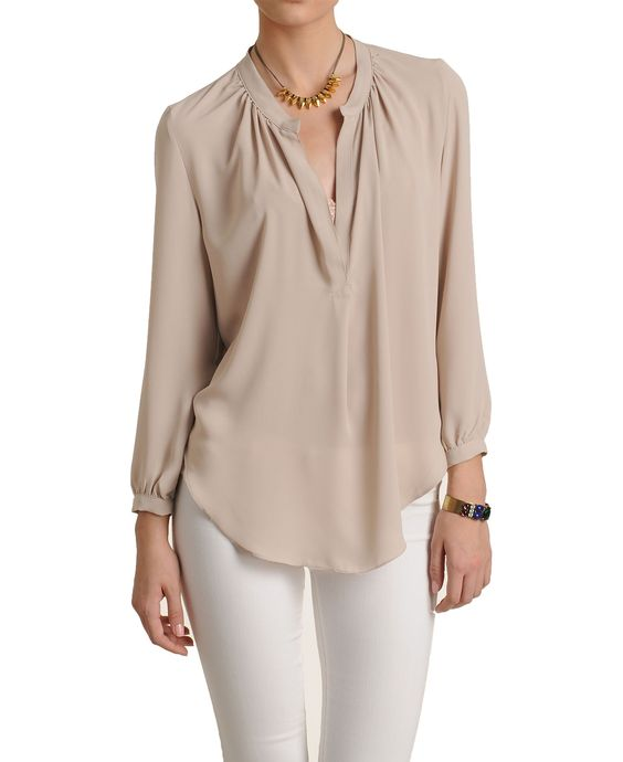Olivaceous Notched Long Sleeve Blouse 2