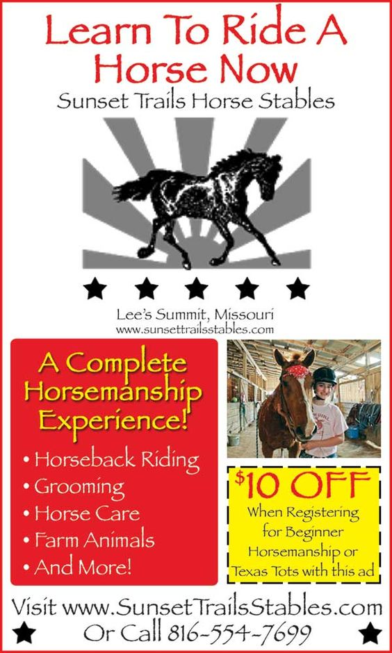 Use this ad for $10 OFF a beginner horse rides at Sunset Trails!!  // For more family resources visit www.ifamilykc.com! :)