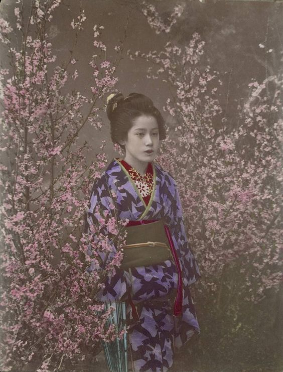 Ogawa Kazumasa: A Damsel – Maiko zur Kirschblütenzeit, um 1890. Albuminpapier, koloriert, 27,0 x 20,6 cm. © Staatliche Museen zu Berlin, Ethnologisches Museum