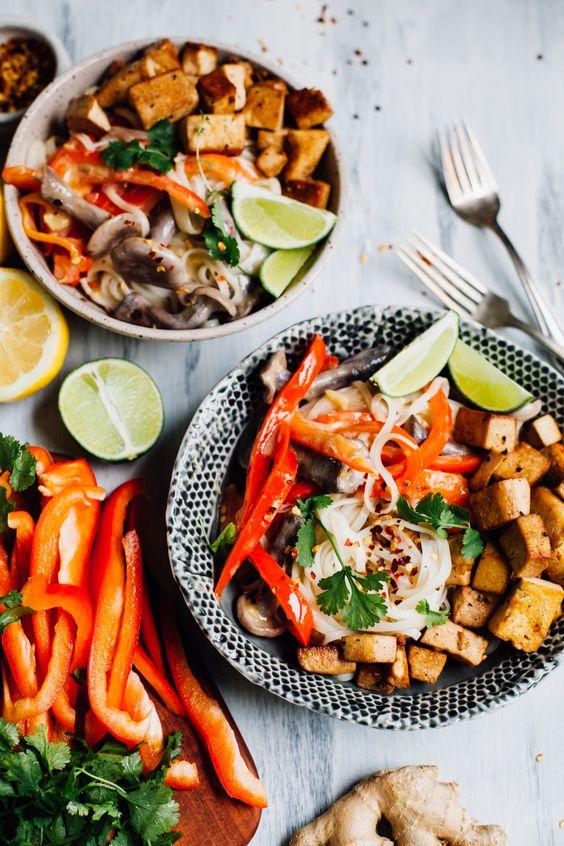 vegan thai-style coconut lime noodle bowls with tamari tofu | recipe via willfrolicforfood.com