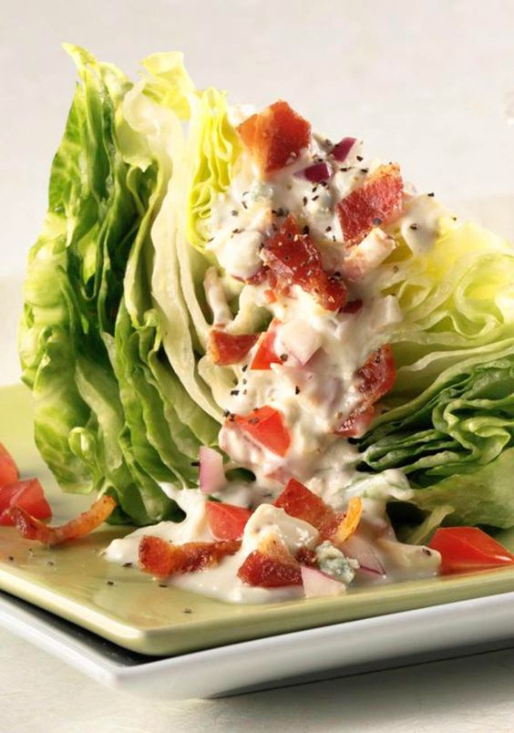 Iceberg Wedge With Warm Bacon And Blue Cheese Dressing Recipe ...