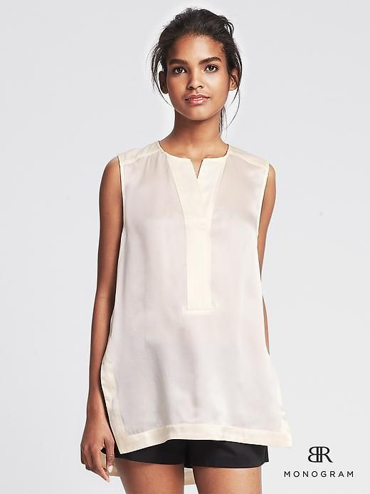BR Monogram Sleeveless Silk Tunic