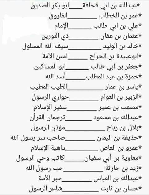 ألقاب صحابة رسول الله صلى الله عليه وسلم Islam Facts Islam Beliefs Learn Islam