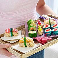 Sweet Sushi: Candy Sushi, Rice Krispies Treats, Sushi Treats, Fruit Roll, Party Ideas, Sweet Sushi, Birthday Party, Rice Krispie Treats