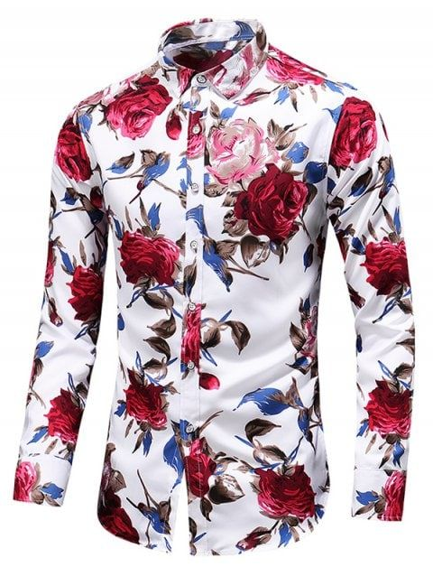 Mens Printed Floral Lapel Collar T-shirt Half Sleeve Slim Fit Blouse Tops Casual
