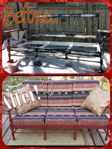 My re purposes couch for the mountain cabin...love  home made chalk paint and Hobby Lobby upholstery material.