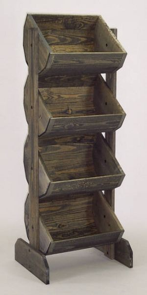 Wooden Barrel Rack Vegetable Bin, Wood Produce Stand