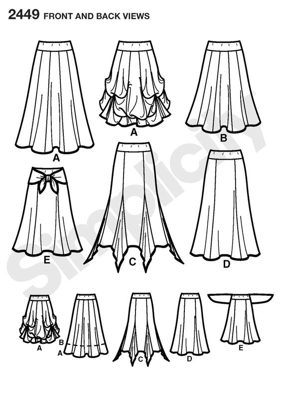 Easy to Sew Collection Skirts Sewing Pattern 2449 Simplicity: