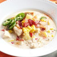 spicy corn chowder...love this recipe (except I use 2 chicken bullion cubes and no chicken)