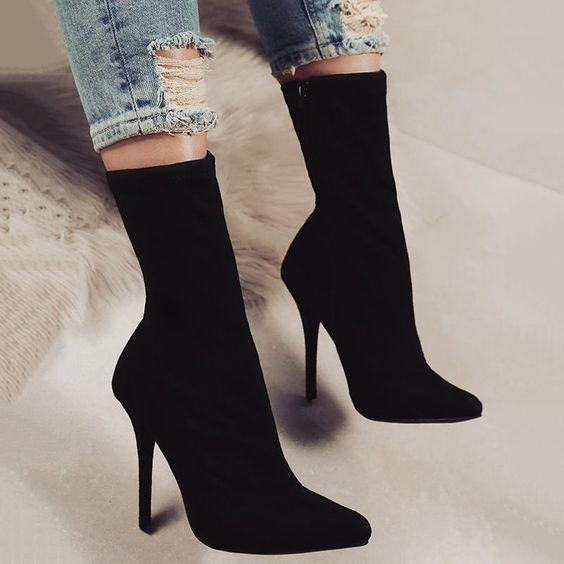 Stylish Pointed Toe Side Zipper Heeled Boots