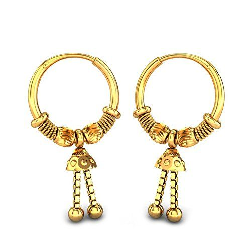 d301a99e5 Candere By Kalyan Jewellers 22k (916) Yellow Gold Mystee Hoop Earrings for  Women