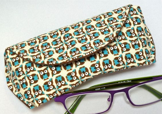 Eyeglass Case with Magnetic Closure in Brown Turquoise Owls