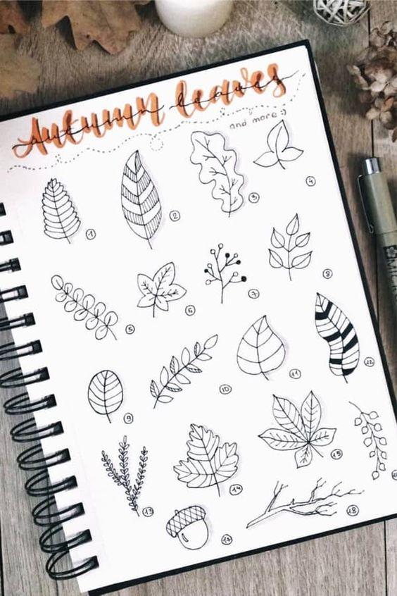 Bullet Journal à thème : l'automne est là (page par @ginger.bullet.journal)