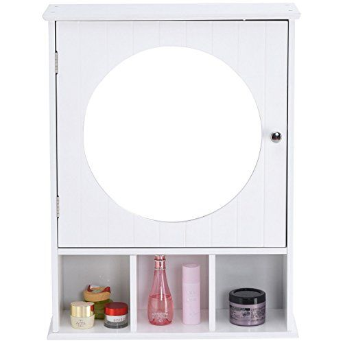 New White Bathroom Cabinet Mirror Door Wall Mount Storage Wood Shelf White Finish This Bathroom Furniture Modern Wood Storage Cabinets White Bathroom Cabinets