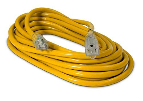25 Ft 12 3 Heavy Duty Lighted Sjtw Indoor Outdoor Extension Cord By Watt S Wire Yellow 25 12 Gauge Grounded 15 Amp Three Prong Power Cord 25 Foot 12 Awg Outdoor Extension Cord Extension Cord Indoor Outdoor