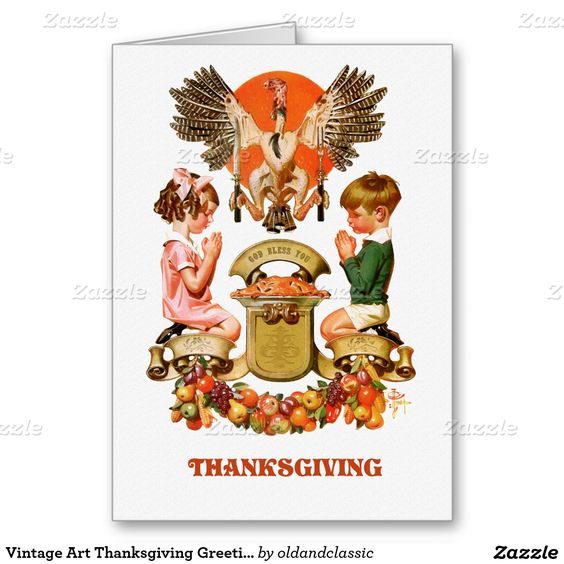 Happy Thanksgiving. Customizable Greeting Cards with a vintage magazine illustration by Joseph Christian Leyendecker, circa 1932. Matching cards, postage stamps and other products available in the oldandclassic store at zazzle.com