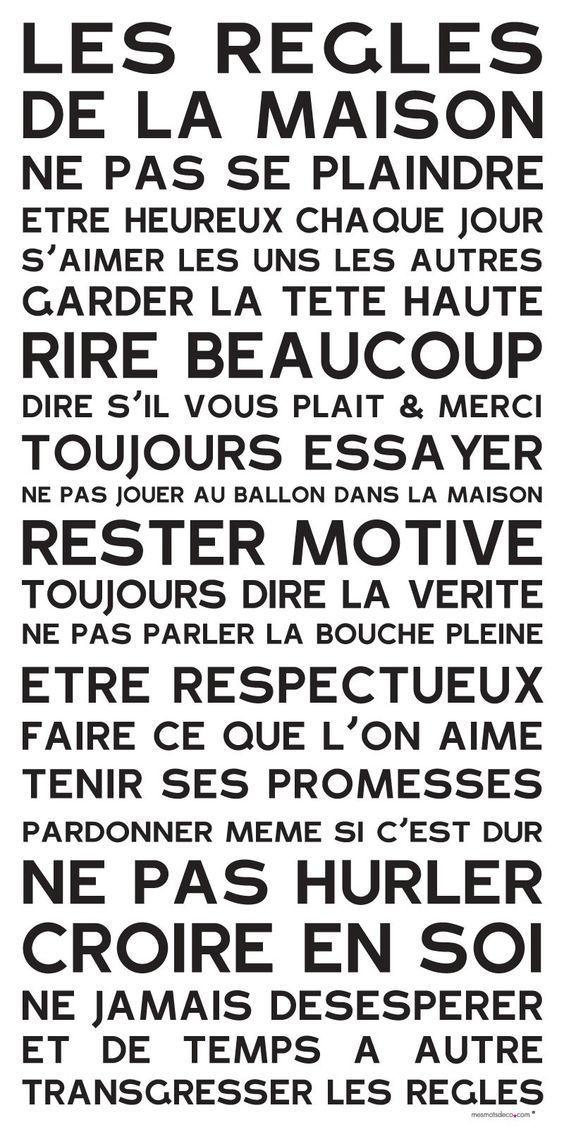 Maison familiale règles amour mot typographie Mots Citer Mur Art inspirantes
