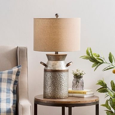 Owen Galvanized Jug Table Lamp Table Lamp Lamp End Table With Lamp