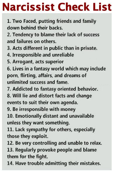 """Narcissism traits 