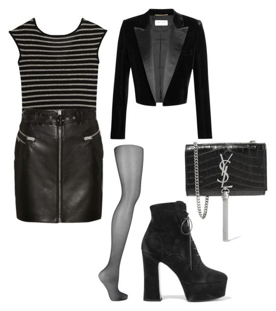 """""""Untitled #1537"""" by mariana-mg ❤ liked on Polyvore featuring Yves Saint Laurent, Wolford, saintlaurent and wolford"""