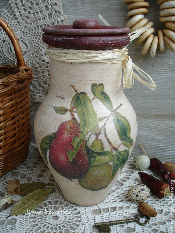 """Купить Крынка """"Деревенская груша"""" - крынка, керамика ручной работы, кувшин, кувшин декупаж, кувшины"""