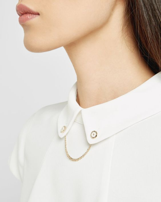 Chain detail collared top - Cream | Tops & Tees | Ted Baker