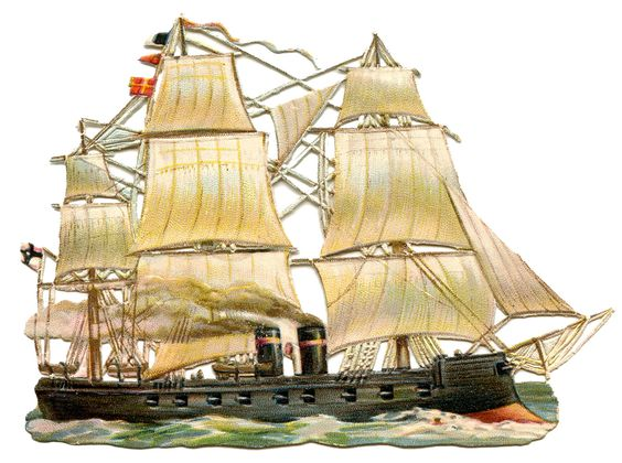 Vintage Ship Image Steam Sails: