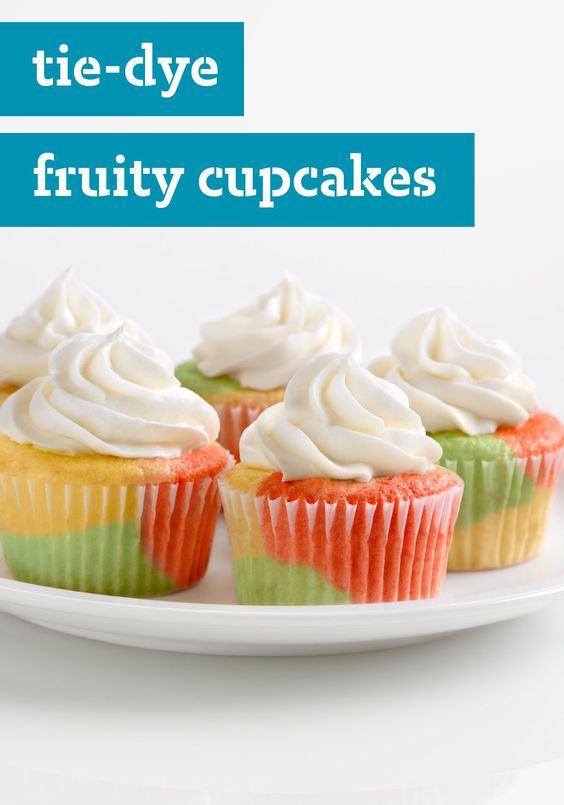 Tie-Dye Fruity Cupcakes – JELL-O Gelatin is the secret to the groovy ...