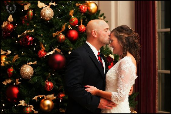 Wedding photographers Newport RI -Peter Silvia Photography: 12/13/14 Rosecliff Mansion Wedding Betsy and Steve.  This Christmas tree makes the setting of a beautiful moment!