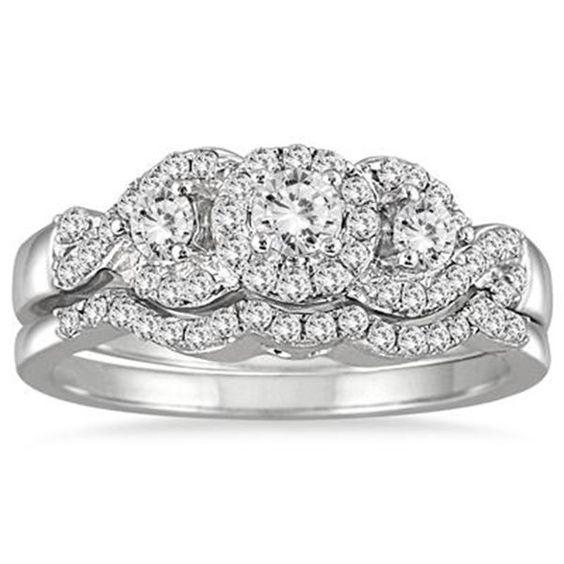 0.62ct D/VVS1 Dimaond Three Stone Engagement Bridal Ring Set 14k White Gold #Jewelsbyeanda