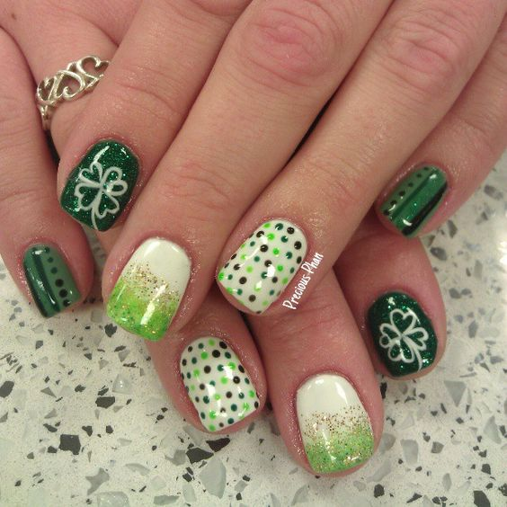 st patrick's day by preciousphan #nail #nails #nailart I think if do either dark or light but not both. I really like the dots: