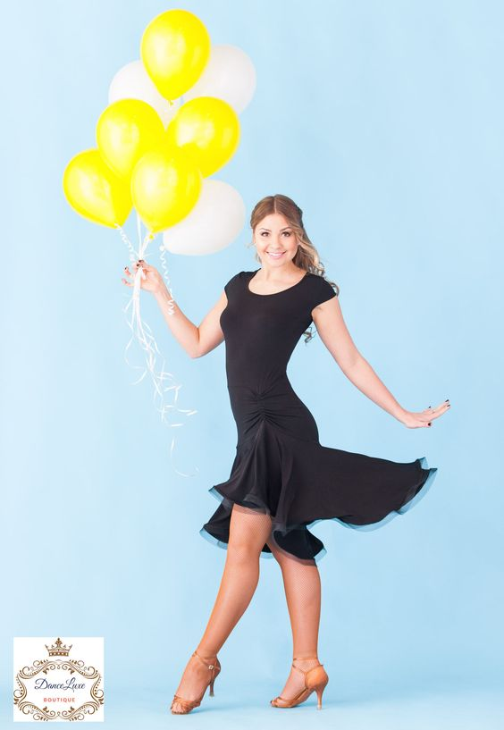 This is a must have dress in any dance wardrobe. Flare skirt with crinoline creates a great flow in dance motion. - Stretch crepe fabric - Crinoline to hem - 95% poly 5% spandex - Hand wash - Colors :                                                                                                                                                                                 More
