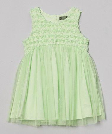 Look what I found on #zulily! Light Green Rosette Dress - Toddler & Girls #zulilyfinds