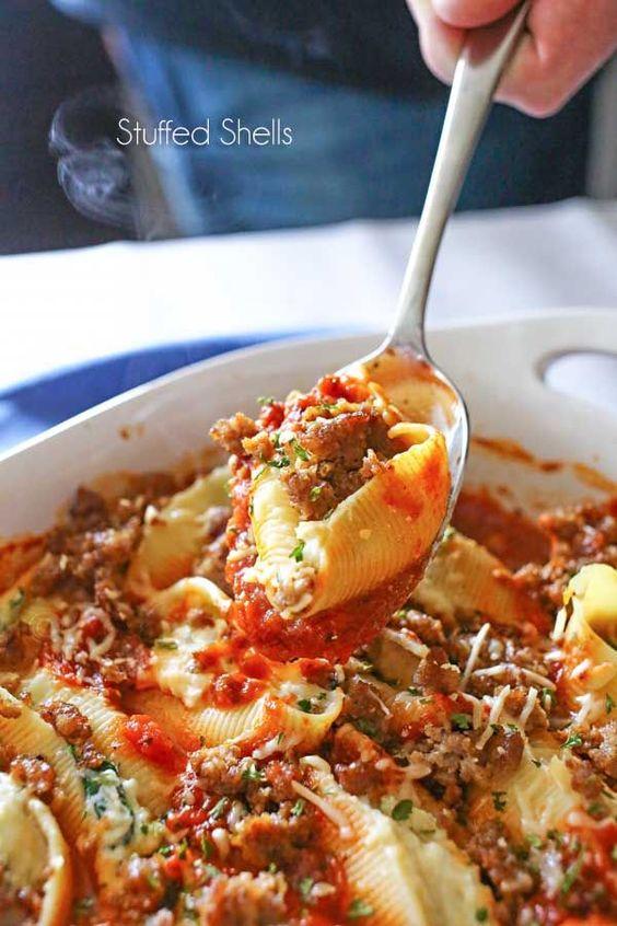 Stuffed shells, Tomato basil sauce and Shells on Pinterest