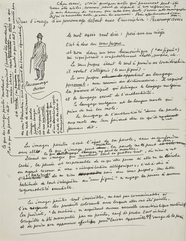 "MAGRITTE, RENE. 1898-1967.MAGRITTE, RENE. 1898-1967. ""DANS L'IMAGE D'UN PERSONNAGE DEBOUT AVEC L'INSCRIPTION: PERSONNAGE ASSIS"" Autograph Manuscript Signed (""RM"") in initials, 1 p, 4to, c. 1963, [to André Bosmans,] with pen drawing, fine condition."
