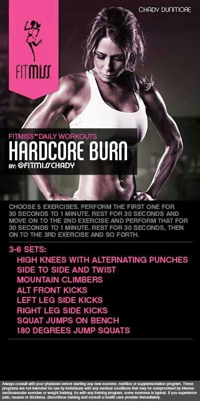 Hardcore Burn workout .